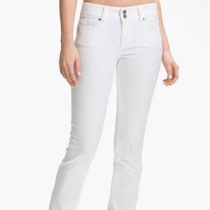 PAIGE White Hidden Hills Straight Slim Jeans